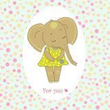 Elephant girl with closed eyes having flower in her hand. Cute elephant girl with closed eyes. Romantic pattern with Hearts and peas. Vector illustration for Stock Photo
