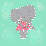 Elephant girl with closed eyes having flower in her hand. Lovely elephant calf in a dress in peas. Cute cartoon elephant sticker on blue background with Royalty Free Stock Image