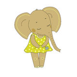 Elephant girl with closed eyes having flower in her hand. Lovely elephant calf in a dress in peas on white background Royalty Free Stock Images