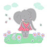 Elephant girl with closed eyes having flower in her hand. Lovely elephant calf in a dress in peas on white background with bird, flowers, butterflies, clouds Stock Images