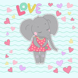 Elephant girl with closed eyes having flower in her hand. Lovely elephant calf sticker in a dress in peas on backgraund from wavy lines and hearts. Word love Royalty Free Stock Image