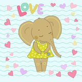 Elephant girl with closed eyes having flower in her hand. Lovely elephant calf sticker in a dress in peas on backgraund from wavy lines and hearts. Word love Stock Photo