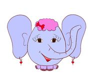 Elephant girl with hairstyle, bow and earrings.  vector illustration