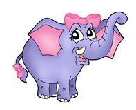 Elephant girl with pink ribbon. Color illustration of elephant girl with blue ribbon stock illustration
