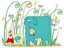 Elephant, girl and presents Stock Image