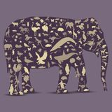 Elephant Globe outline made from animals icons Stock Image