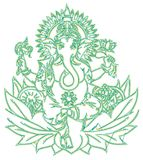 Elephant god on the white background. Indian elephant god figure designed as a line-art icon using special AI brush. This icon for nature, wildlife, travel Royalty Free Stock Photos