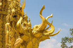 Elephant golden carve texture of buddhism religion Stock Images