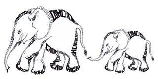 Elephant, graphic arts, pattern. Elephant, graphic arts white background  handmade pattern Royalty Free Stock Photos