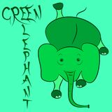 Elephant green  emblem. Elephant green cartoon emblem poster illustration Stock Photos