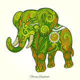 Elephant green ornament ethnic vector illustration Stock Photo