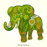 Elephant green ornament ethnic vector illustration Stock Photo