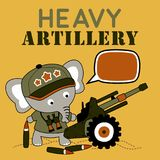 Cute soldier cartoon with heavy artillery. Elephant the gunman. Vector cartoon illustration, no mesh, vector on eps 10 Stock Images