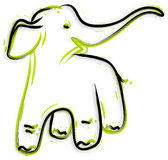 Elephant - hand drawn. Hand drawn full of happy young elephant Royalty Free Stock Images