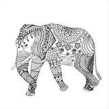 Elephant hand drawn doodle graghic. Object isolated on white. Floral mandala Stock Photos