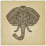 Elephant hand drawn pattern old background Stock Photos
