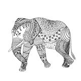 Elephant Hand drawn sketched  illustration. Doodle graphic with ornate pattern.  Stock Photography
