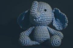 Elephant. Handmade crocheted blue toy elephant Stock Photo