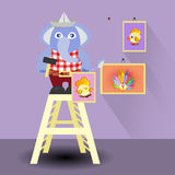 Elephant hangs paintings. children s illustration Royalty Free Stock Images