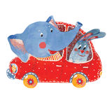 Elephant and hare in car. Watercolor illustration of elephant and hare in car, vector stock illustration