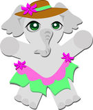 Elephant with Hat and Skirt Stock Photography