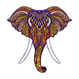 Elephant Head Colored. Front view elephant head with colored ornate hand drawn vector illustration Stock Images