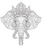 Elephant head doodle on white vector sketch. Stock Photos