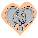 Elephant head in heart Stock Photos