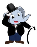 Elephant head man wear Tuxedo. Cartoon isolated royalty free illustration