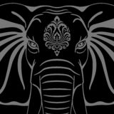 Elephant head with ornament stock illustration