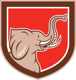 Elephant Head Side Shield Cartoon Stock Image