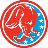 Elephant Head Side Stars Circle Retro Royalty Free Stock Photo