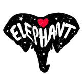 Elephant head silhouette with inscription and red heart. Lettering text Love elephant. Royalty Free Stock Photo
