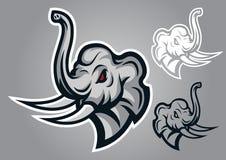 Elephant head sing logo vector. Emblem illustration design idea creative Stock Image