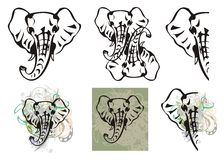 Elephant head symbols and elephant head splashes Royalty Free Stock Photos