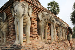Elephant head temple ruins sukhothai thailand Stock Photography