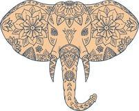 Elephant Head Tusk Mandalaa. Mandala style illustration of an elephant head viewed from front set on isolated white background vector illustration