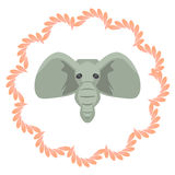 Elephant head vector cartoon illustartion. Grey Royalty Free Stock Photos