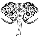 Elephant head. Vector illustration of elephant head.Tattoo elephant with patterns and ornaments Royalty Free Stock Image
