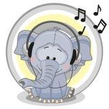 Elephant with headphones Stock Photos