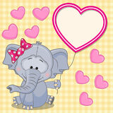 Elephant with heart frame Royalty Free Stock Images