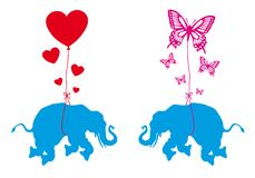Elephant with hearts and butterflies, vector Stock Photography
