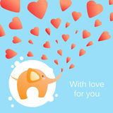 Elephant with hearts. Vector illustration of a small elephant and hearts stock illustration