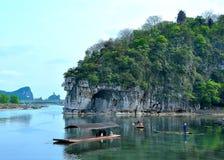 Elephant hill beside Li River Stock Images
