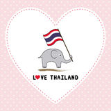 Elephant hold Thai flag7 Royalty Free Stock Photography