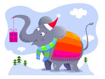 Elephant holding Christmas gift Stock Photo