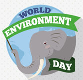 Elephant holding a Commemorative Flag for World Environment Day, Vector Illustration. Smiling elephant with a long green flag celebrating awareness and care in Royalty Free Stock Photos
