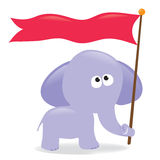 Elephant holding flag/sign Royalty Free Stock Images