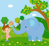 A elephant holding flower to a cute girl Royalty Free Stock Images