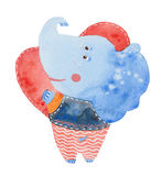 Elephant holding a heart Stock Photography